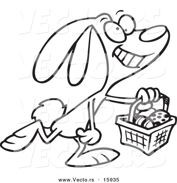 Line Drawing Easter : Vector of a cartoon happy easter bunny carrying basket