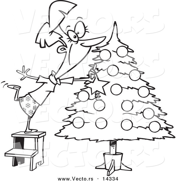 Vector Of A Cartoon Happy Lady Decorating A Christmas Tree Decorate A Tree Coloring Page