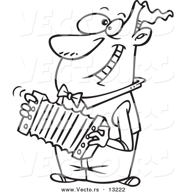 Vector Of A Cartoon Happy Man Playing An Accordion