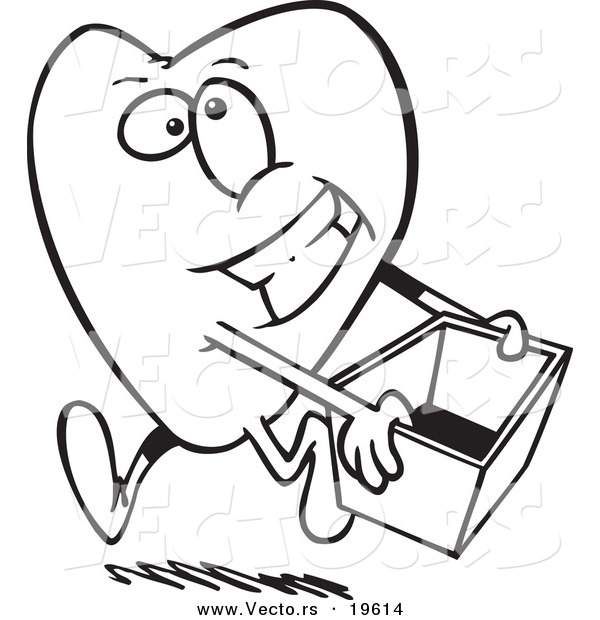 Blood Donation Coloring Pages. Vector of a Cartoon Heart Carrying Donations Box  Outlined Coloring Page