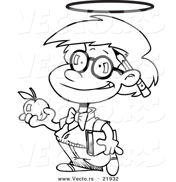 vector of a cartoon innocent school boy with an apple - outlined coloring page by toonaday