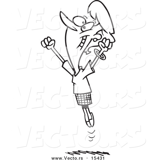 vector of a cartoon joyful businesswoman jumping coloring page outline