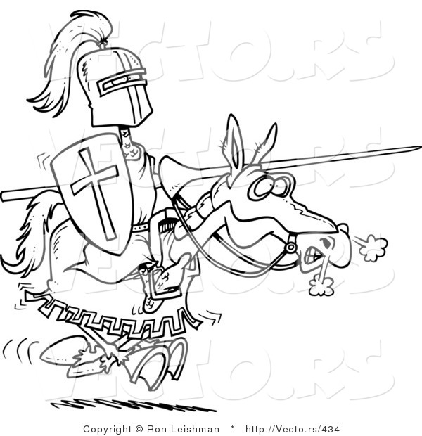 Vector of a Cartoon Knight Jousting on a Horse - Coloring Page by ...