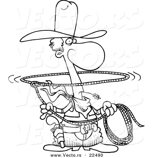 Vector Of A Cartoon Lasso Cowboy Coloring Page Outline