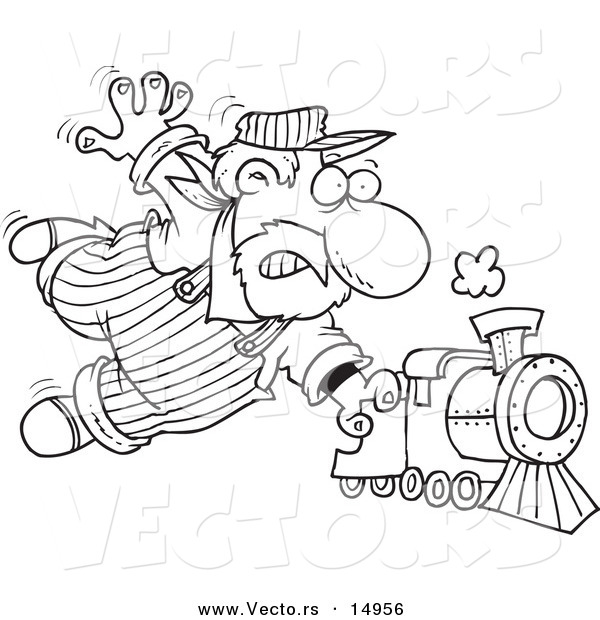 Vector of a Cartoon Locomotive Engineer Holding onto a ...