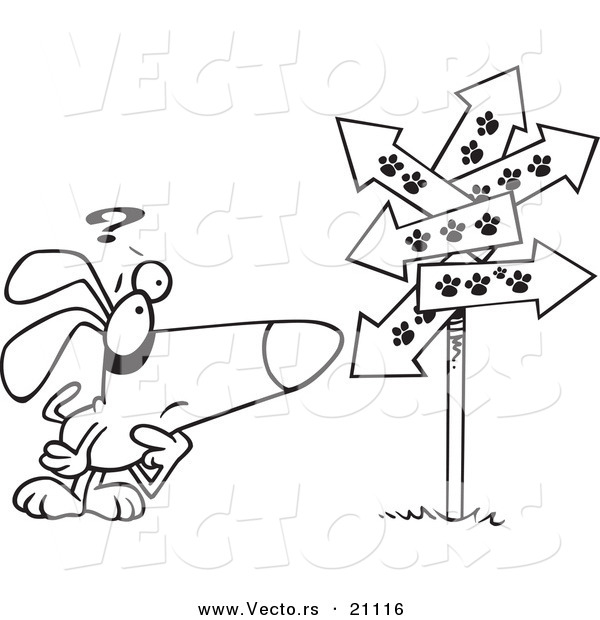 Vector Of A Cartoon Lost Dog Staring At Paw Print Signs