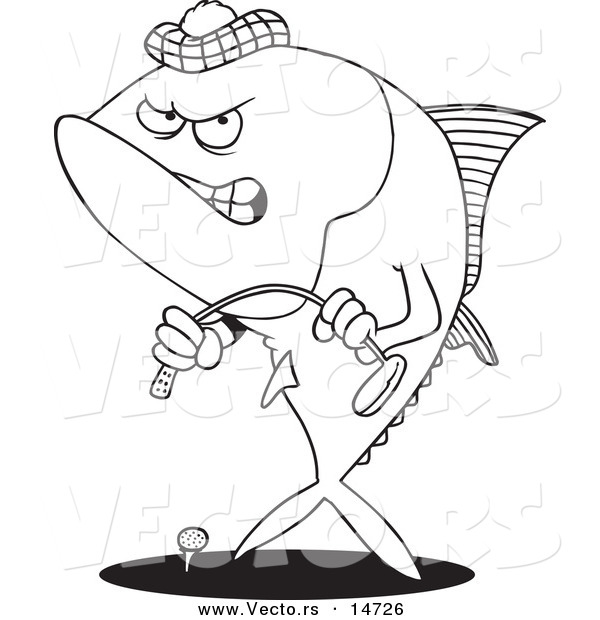 Vector of a Cartoon Mad Tuna Fish Playing Golf - Coloring Page Outline