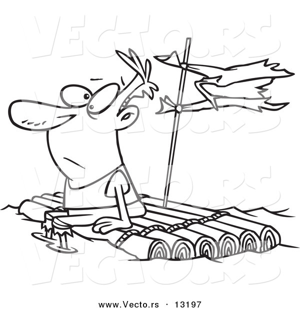 Vector of a Cartoon Man Adrift on a Log Raft - Coloring Page Outline