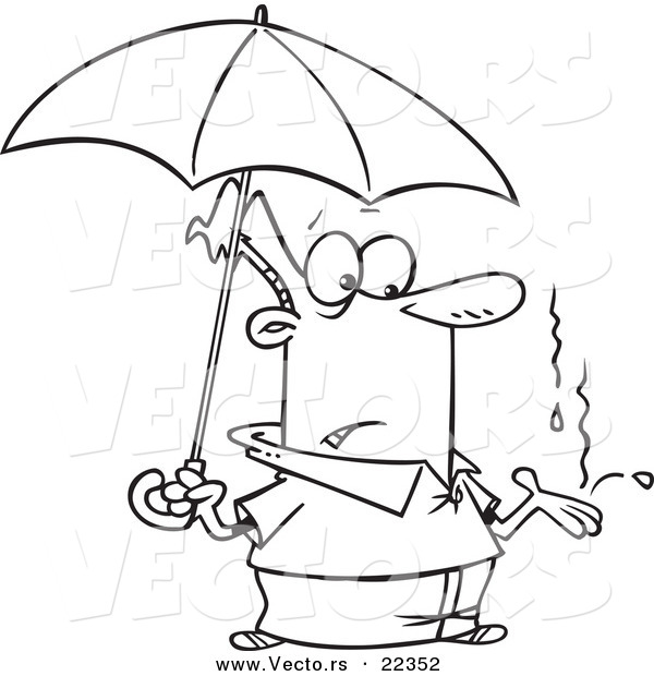 Vector of a Cartoon Man Catching Raindrops in His Hand - Coloring Page Outline