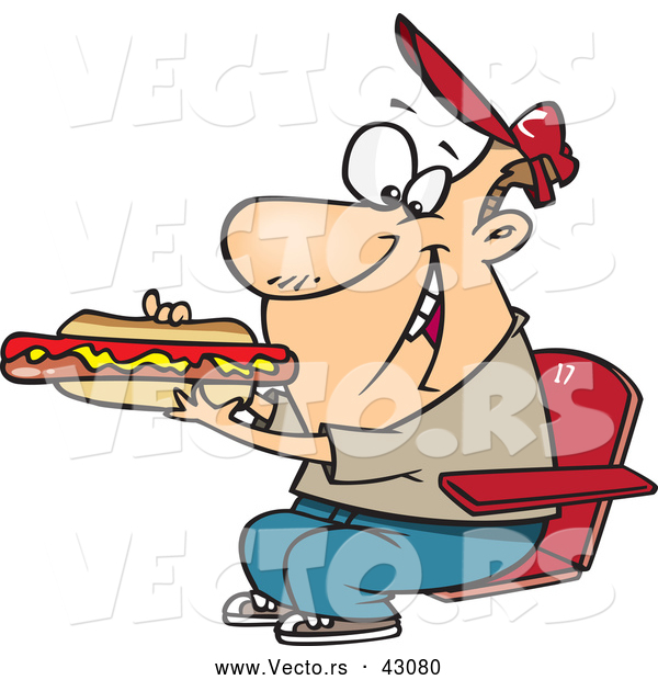 Vector of a Cartoon Man Eating a Long Hot Dog at a Sporting Event