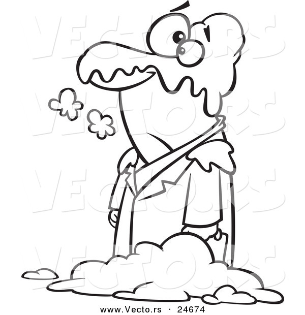 Vector of a Cartoon Man in a Blanket of Snow Outlined Coloring