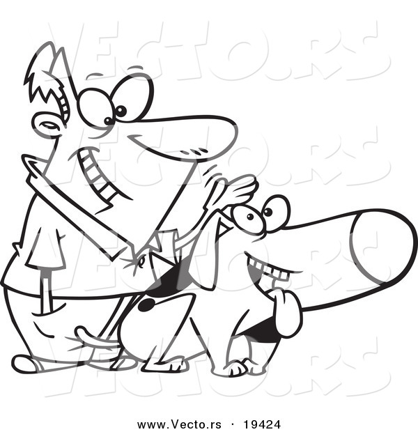 Vector of a Cartoon Man Patting His Dog - Outlined Coloring Page by toonaday - #19424