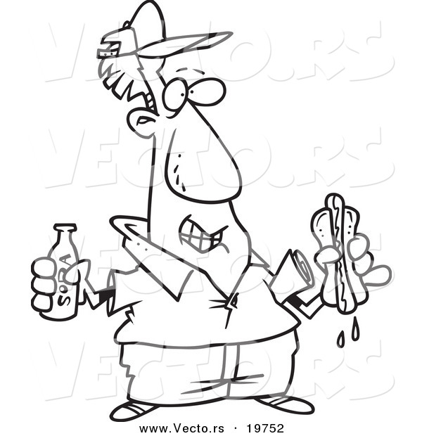 Vector of a Cartoon Man with Soda and a Hot Dog - Outlined Coloring Page