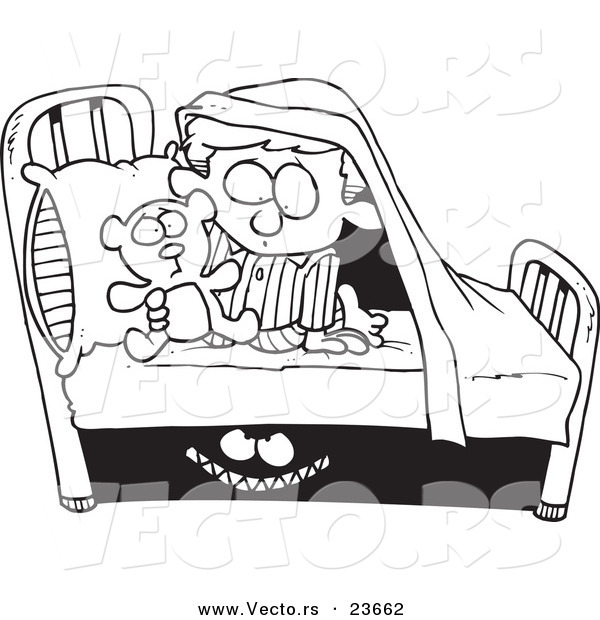 Vector Of A Cartoon Monster Scaring A Boy Under A Bed Coloring Page Outline