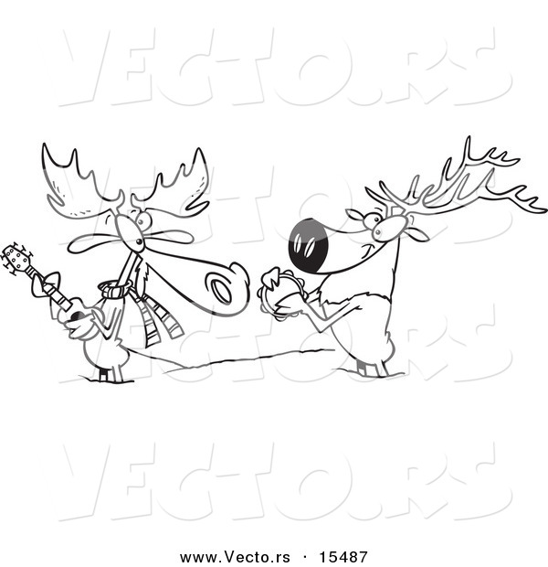 Vector Of A Cartoon Moose And Elk Jamming In The Snow