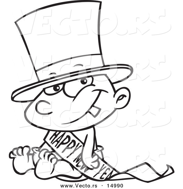 Line Art Year : Vector of a cartoon new years baby sitting coloring page