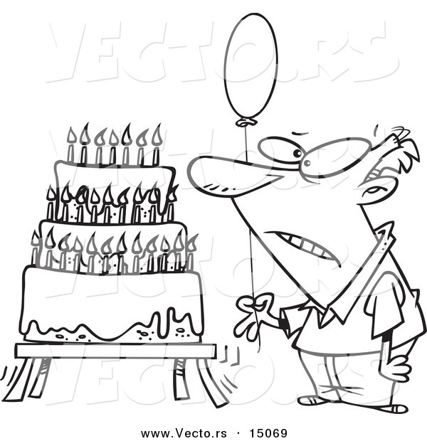 Vector of a Cartoon Old Man Holding a Balloon by a Birthday Cake