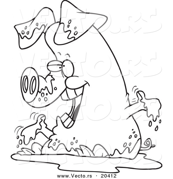 vector of a cartoon pig playing in mud coloring page outline