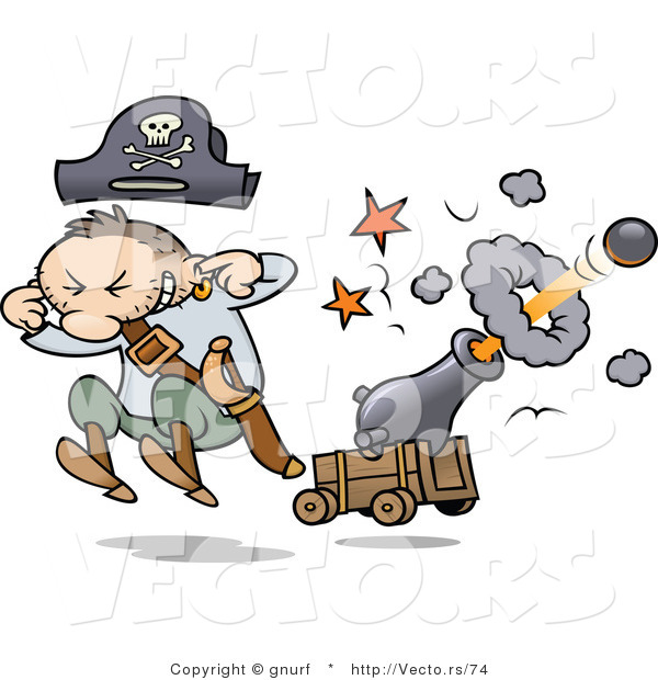 Vector of a Cartoon Pirate Shooting a Cannon with Ball