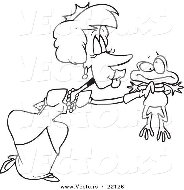 Vector of a Cartoon Princess Kissing a Frog - Outlined Coloring Page