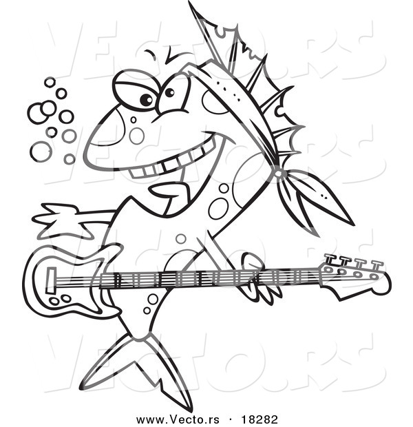 Vector of a Cartoon Rocker Fish - Outlined Coloring Page