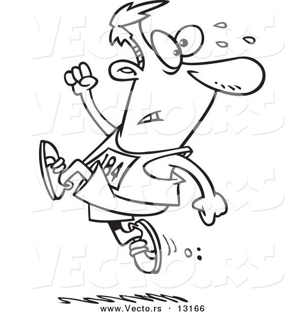Vector Of A Cartoon Runner Man Ahead The Crowd