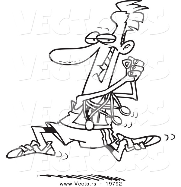 Vector Of A Cartoon Runner Sporting His Medals