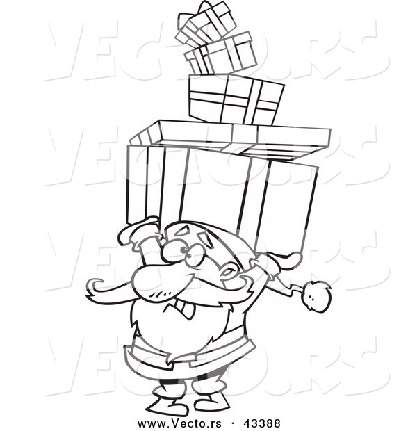 Vector of a Cartoon Santa Carrying a Stack of Christmas Presents