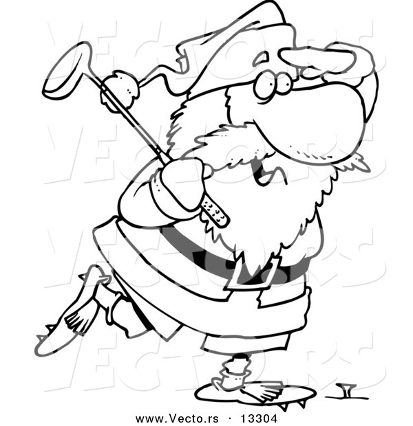 Vector of a Cartoon Santa Golfing - Coloring Page Outline by Ron ...
