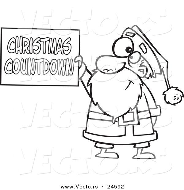 Vector of a Cartoon Santa Holding a Christmas Countdown Sign