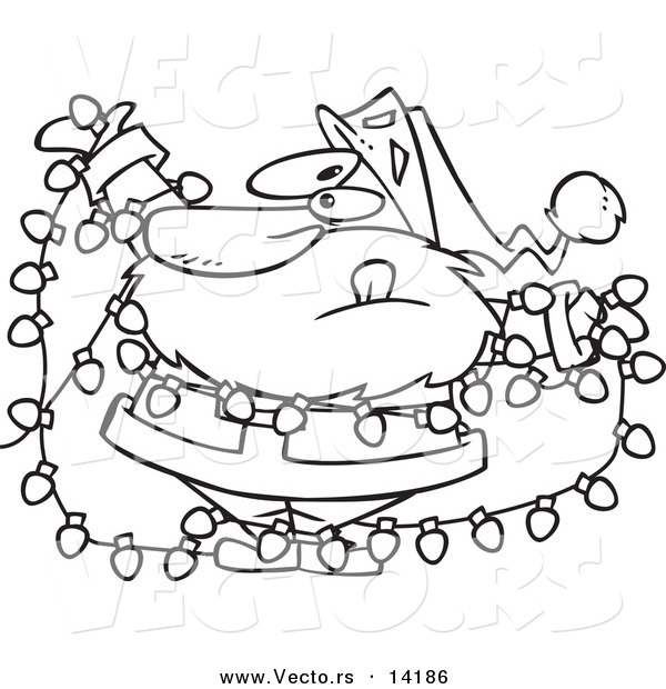 vector of a cartoon santa tangled in christmas lights coloring page outline