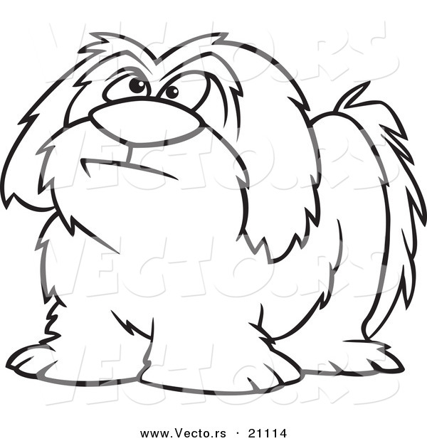 Vector of a Cartoon Shaggy Dog - Coloring Page Outline by toonaday ...