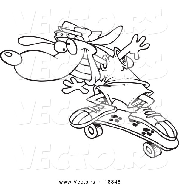 Vector of a Cartoon Skateboarding Dog - Outlined Coloring Page by ...