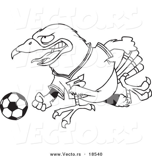 Vector Of A Cartoon Soccer Hawk Outlined Coloring Page