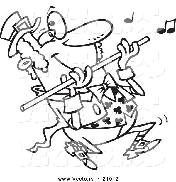 Vector of a Cartoon St Patricks Day Leprechaun Playing a Flute