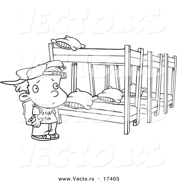 Vector of a Cartoon Summer Camp Boy Looking at Bunk Beds Coloring