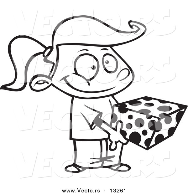 Vector of a Cartoon Sweet Girl Holding a Gift Box  Coloring Page
