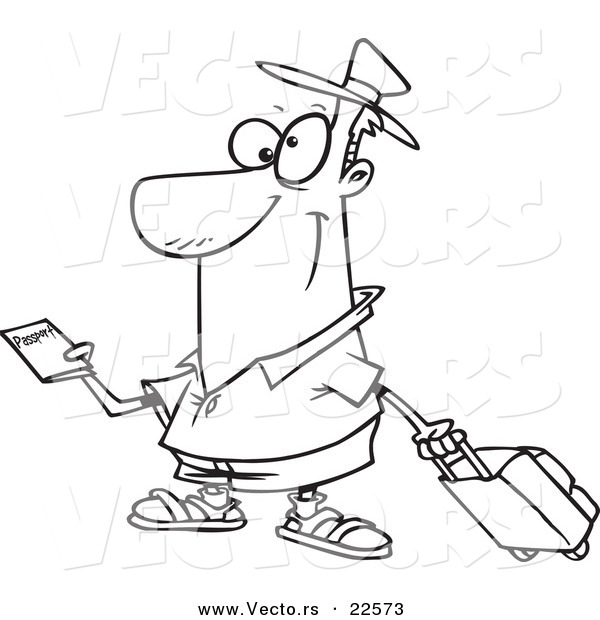 vector of a cartoon traveler holding a passport coloring page outline - Passport Coloring Page