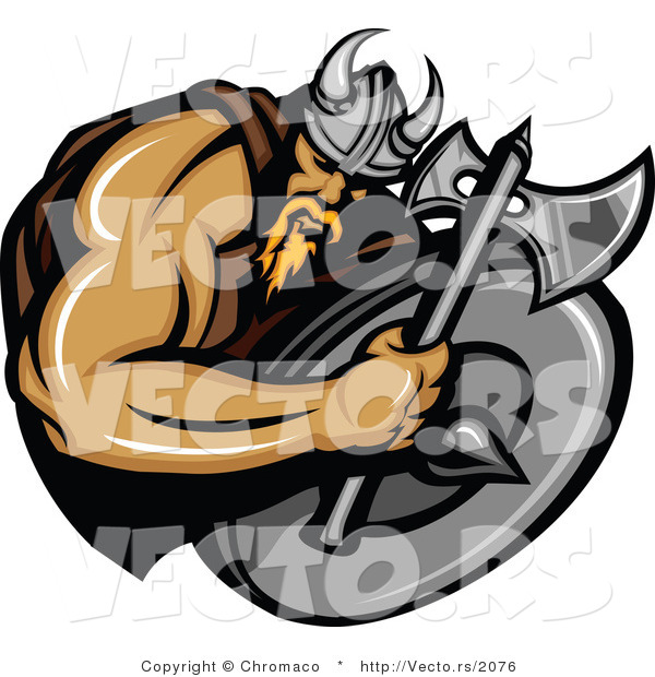 Vector of a Cartoon Viking Warrior Mascot Armed with an Axe