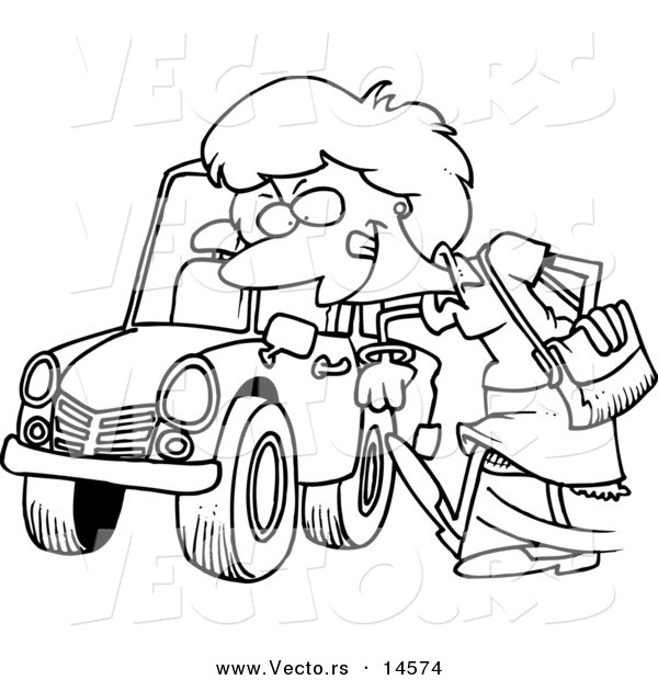 Vector Of A Cartoon Woman Kicking Tire On Ca