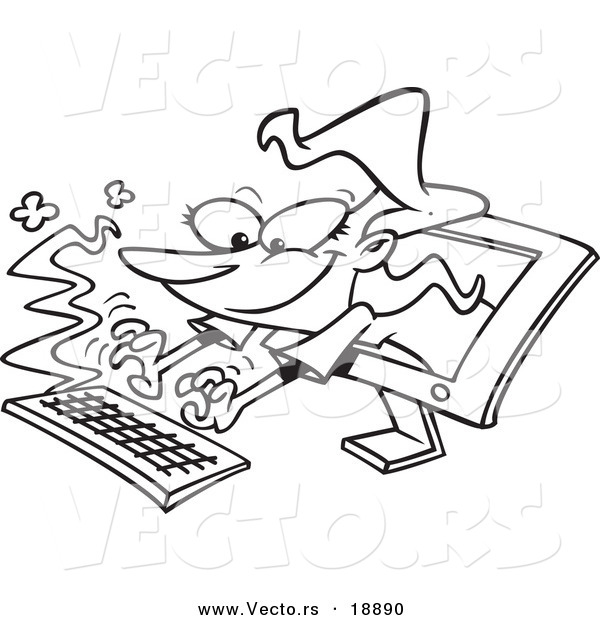 Vector Of A Cartoon Woman Typing From Computer Screen