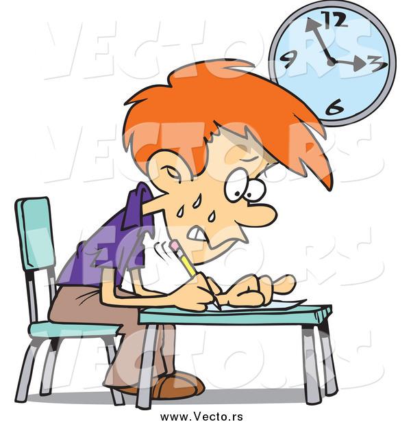 Vector of a Cartoon Worried School Boy Taking an Exam by ...