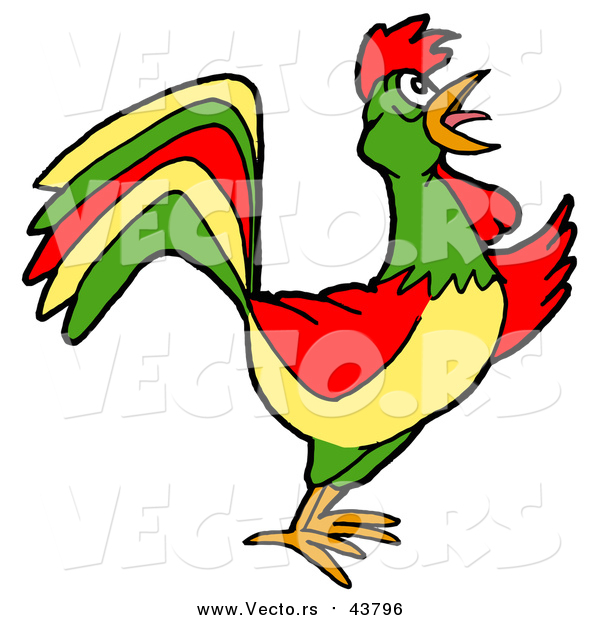 Vector of a Colorful Rooster Crowing