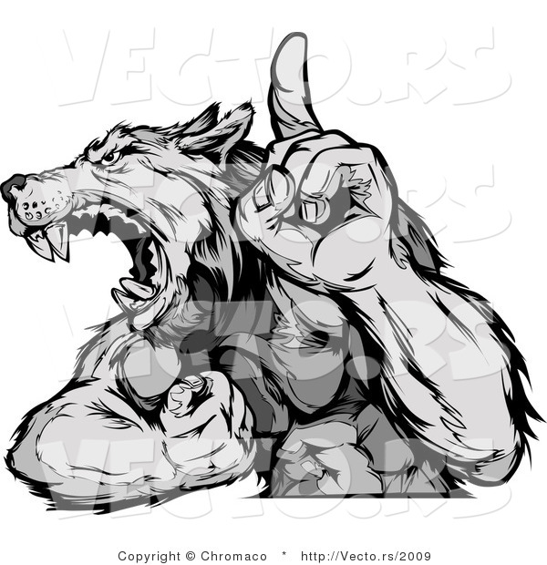 Vector of a Competitive Grey Wolf Mascot Howling While Displaying Strength and Pointing Finger up