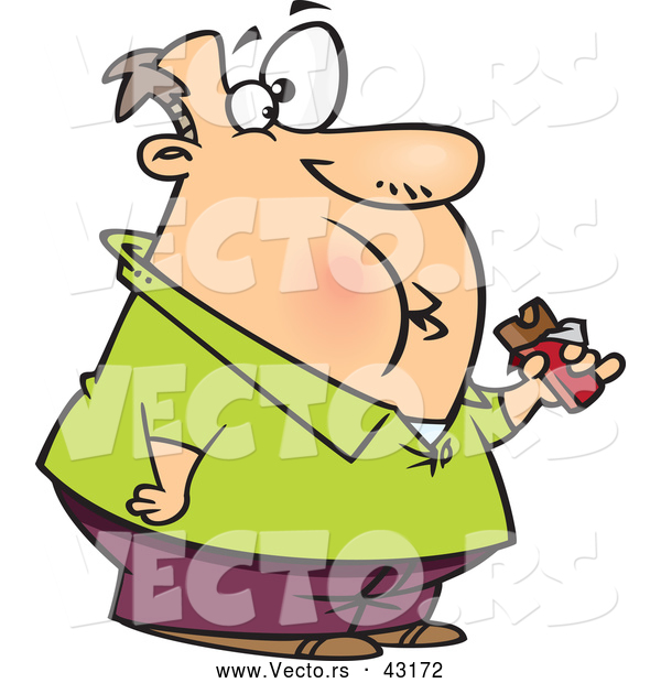 Vector of a Fat Cartoon Man Eating a Chocolate Candy Bar