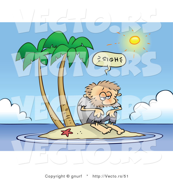 Vector of a Fatigued Cartoon Man Stranded on a Tiny Island on a Hot Summer Day