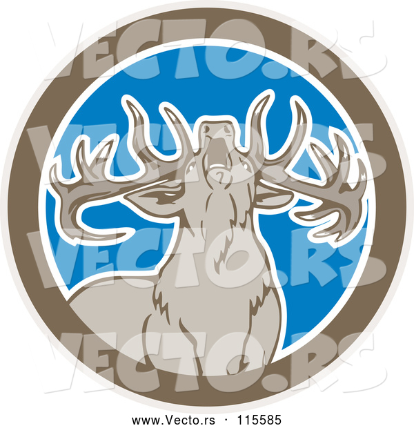 Vector of a Fearless Howling Buck Deer in a Brown White and Blue Circle