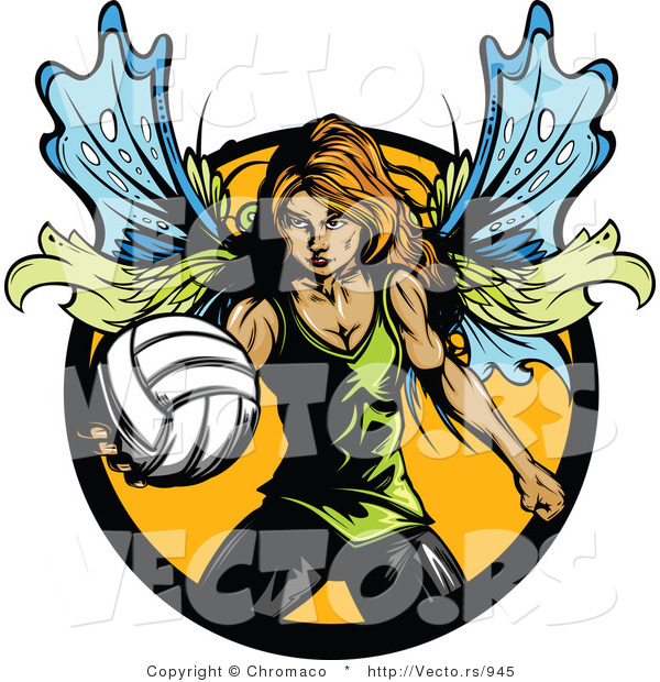 Vector of a Female Fairy with Volleyball