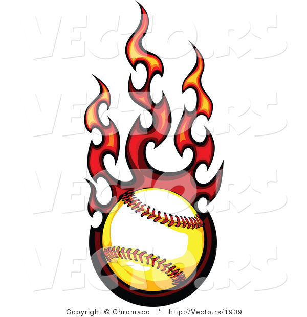 vector of a flaming softball in flight by chromaco 1939 rh vecto rs flaming basketball logo vector