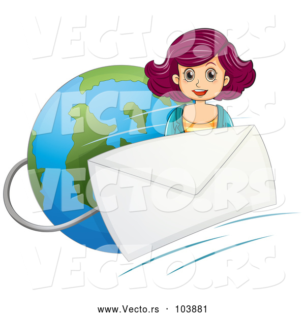 Vector of a Girl Beside an Email Envelope over Earth